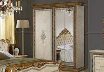 Kleiderschrank 4trg mit Spiegel Jenny in Beige Gold Luxus