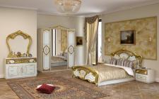 Schlafzimmer Rozza in weiß gold klassisch 160x200 cm Barock