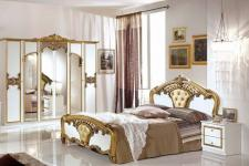 Schlafzimmer Elisa weiss Gold 160 x 200 cm Klassik Italien 4tlg