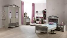 Kinderzimmer Houses 8 tlg braun weiss Boutique Schrank 2 trg Dac