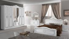 Schlafzimmer in weiss Lucy mit Krone 180x200 cm Klassik 6trg