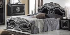 Bett 160x200 cm Liara in schwarz silber Luxus Klassisch Oriental