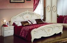Bett 160x200cm Rozza beige creme Italien Klassik Barock Design