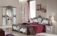 Schlafzimmer Elisa weiss Silber 160 x 200 cm Klassisch Royal 4tl