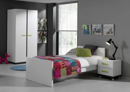 Kinderbett Set Inese 3-teilig in Weiß-Anthrazit