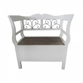 Holzbank weiß/braun 73 x 85 x 42 cm