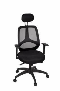 Chefsessel Florenz Deluxe Schwarz - Bürostuhl mit 5-Stufen Synchronmechanik