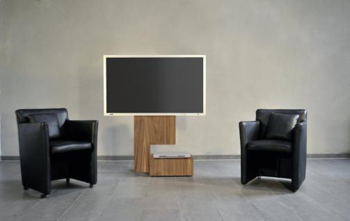 TV- Halter Rolling in Holz Lack- Aluminium in drei Farben