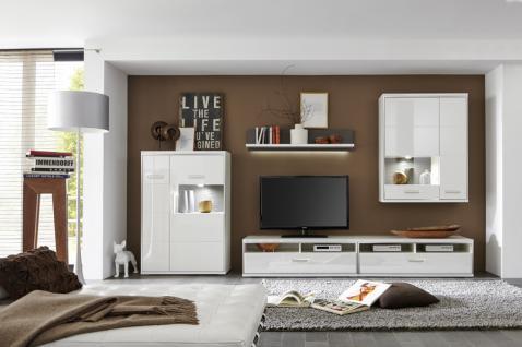 Tv paneel weiss hochglanz g nstig kaufen bei yatego for Wohnwand teno