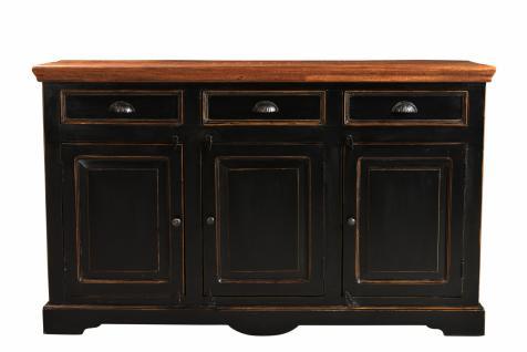 Sideboard Corisa mit 3 Türen aus schwarzem Mangoholz