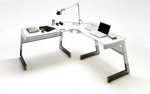 Glas-Winkel-Schreibtisch Ewald weiß