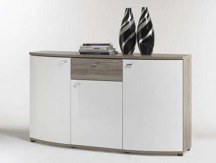 Sideboard Malee Weiß mit Sonoma Eiche Nachbildung