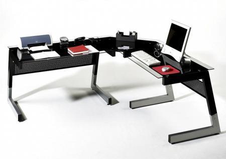 Glas-Winkel-Schreibtisch Ewald