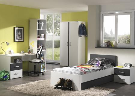 Jugendzimmer Set Linde 6-teilig in Weiß-Anthrazit