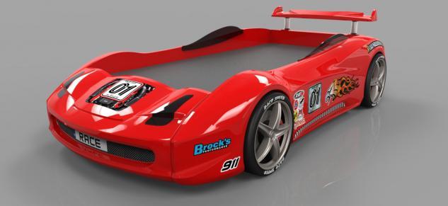 Autobett Turbo V8 Rot mit LED Scheinwerfern