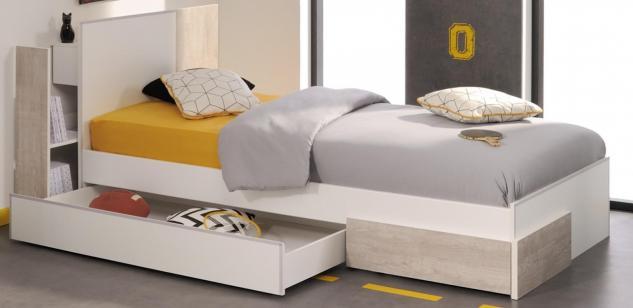Kinderbett Set Enia 3-teilig in Weiß-Loft Grey