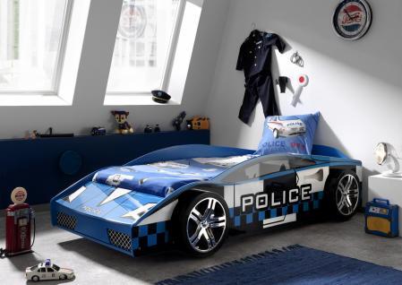 Autobett Police 90x200cm in Blau