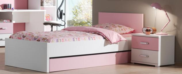 Kinderbett Lovisa 90x200cm in Weiß-Rosa