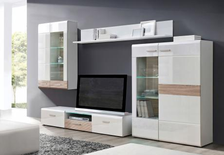 wohnwand marcel 4 tlg in uni weiss sonoma eiche kaufen. Black Bedroom Furniture Sets. Home Design Ideas