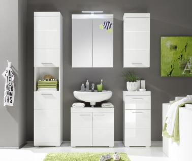Badezimmer Set Essie 5-teilig in Weiß Hochglanz