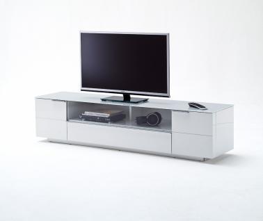 Ferre TV-Lowboard Weiß Hochglanz mit Glas