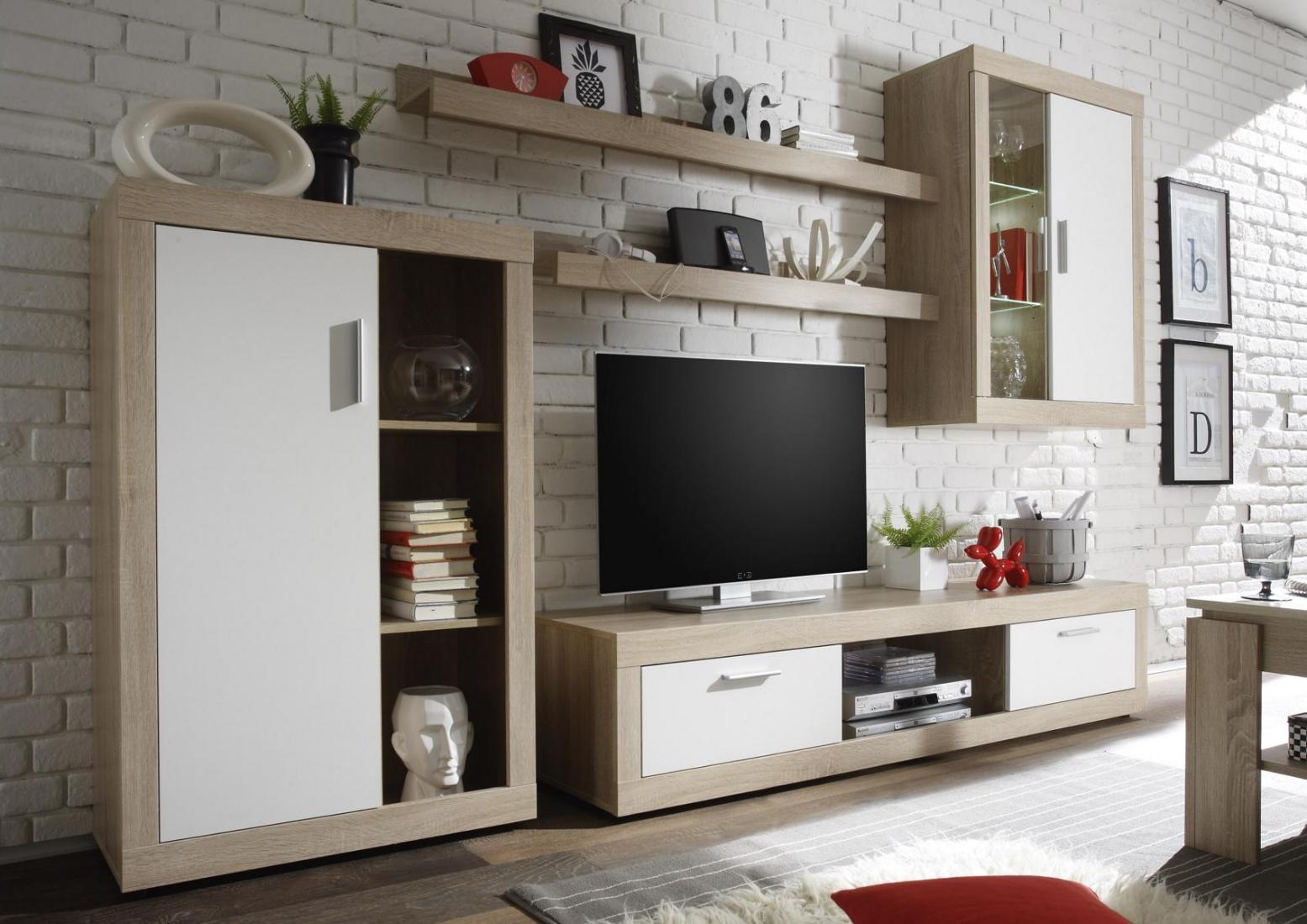Wohnwand Klea 5-teilig in zwei Farben - Kaufen bei Möbel-Lux