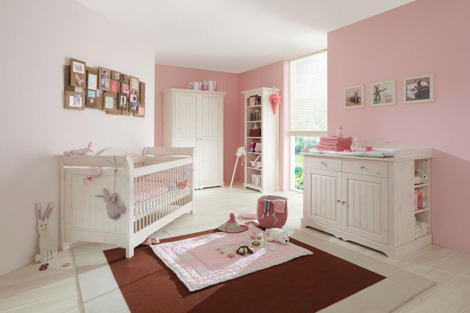Babyzimmer amelie 4  teilig white wash kiefer massiv   kaufen bei ...