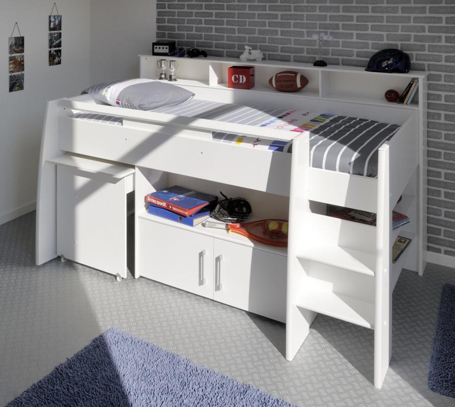 Hochbett mit Schreibtisch JAN weiß - Kaufen bei Möbel-Lux