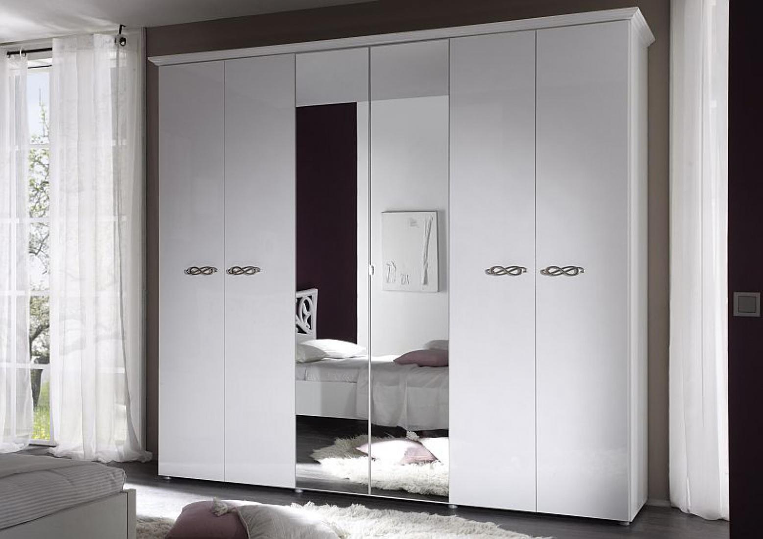 kleiderschrank sonja 6 t rig weiss hochglanz kaufen bei m bel lux. Black Bedroom Furniture Sets. Home Design Ideas