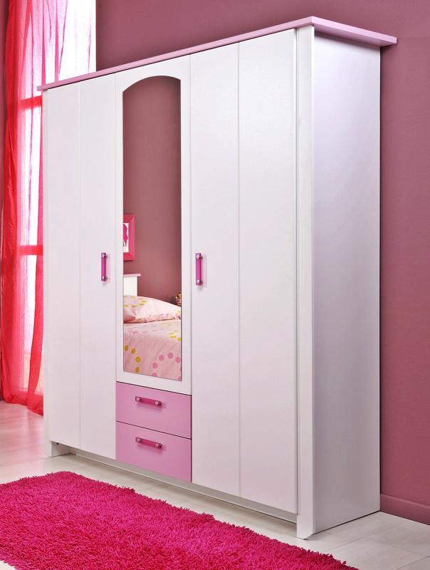 biotiful kleiderschrank 3 trg weiss rosa kaufen bei. Black Bedroom Furniture Sets. Home Design Ideas