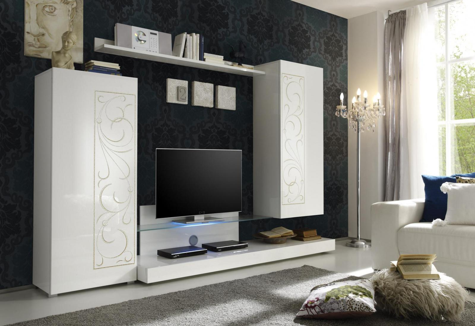wohnwand karolin 4 teilig in wei lack kaufen bei m bel lux. Black Bedroom Furniture Sets. Home Design Ideas