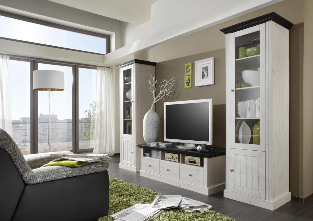 wohnwand monaco 3 tlg weiss kolonial gebeizt kaufen. Black Bedroom Furniture Sets. Home Design Ideas