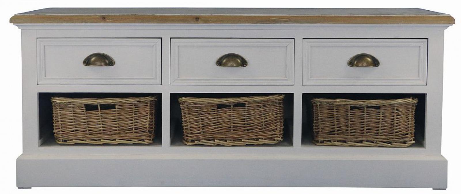 sitzbank konsole mit 3 sch ben und k rben kaufen bei m bel lux. Black Bedroom Furniture Sets. Home Design Ideas