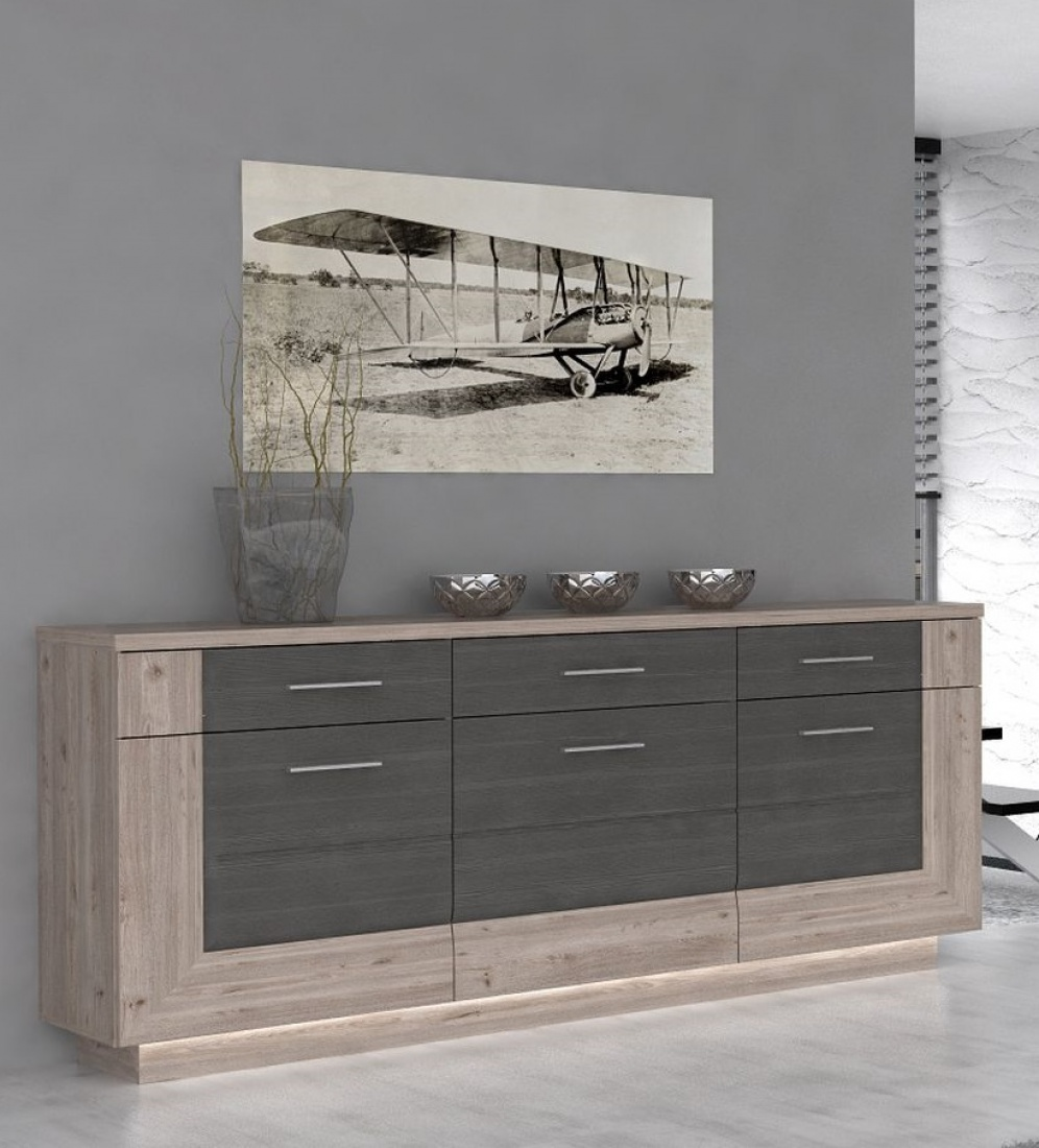 sideboard henrik 3 t rig in nelsoneiche eiche grau. Black Bedroom Furniture Sets. Home Design Ideas