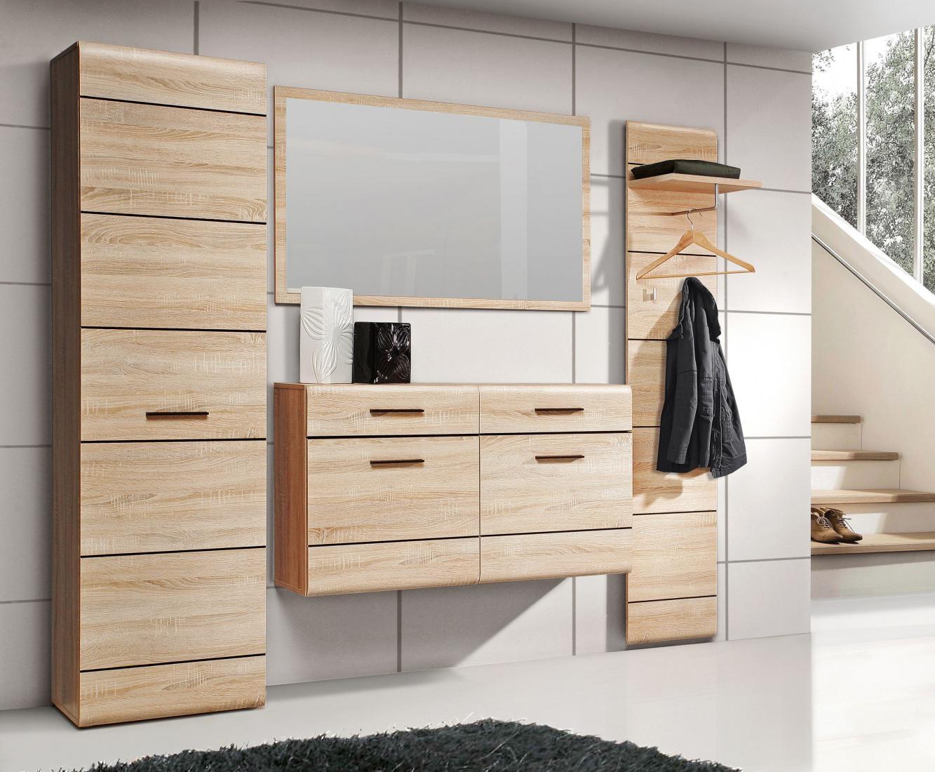 garderoben set sarah 4 tlg in sonoma eiche wenge kaufen bei m bel lux. Black Bedroom Furniture Sets. Home Design Ideas