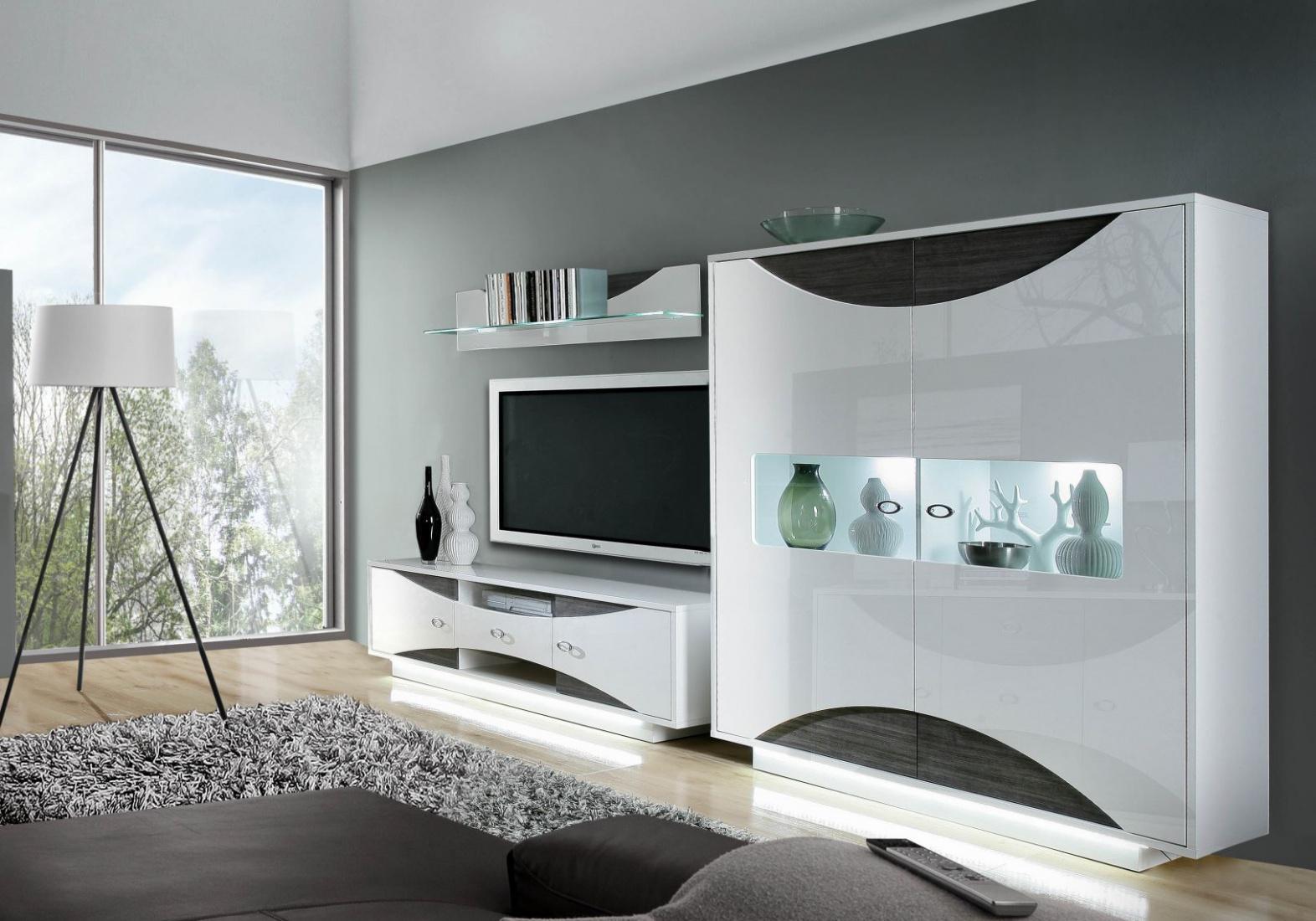 wohnwand jessica 3 teilig in uni weiss eiche grau kaufen bei m bel lux. Black Bedroom Furniture Sets. Home Design Ideas