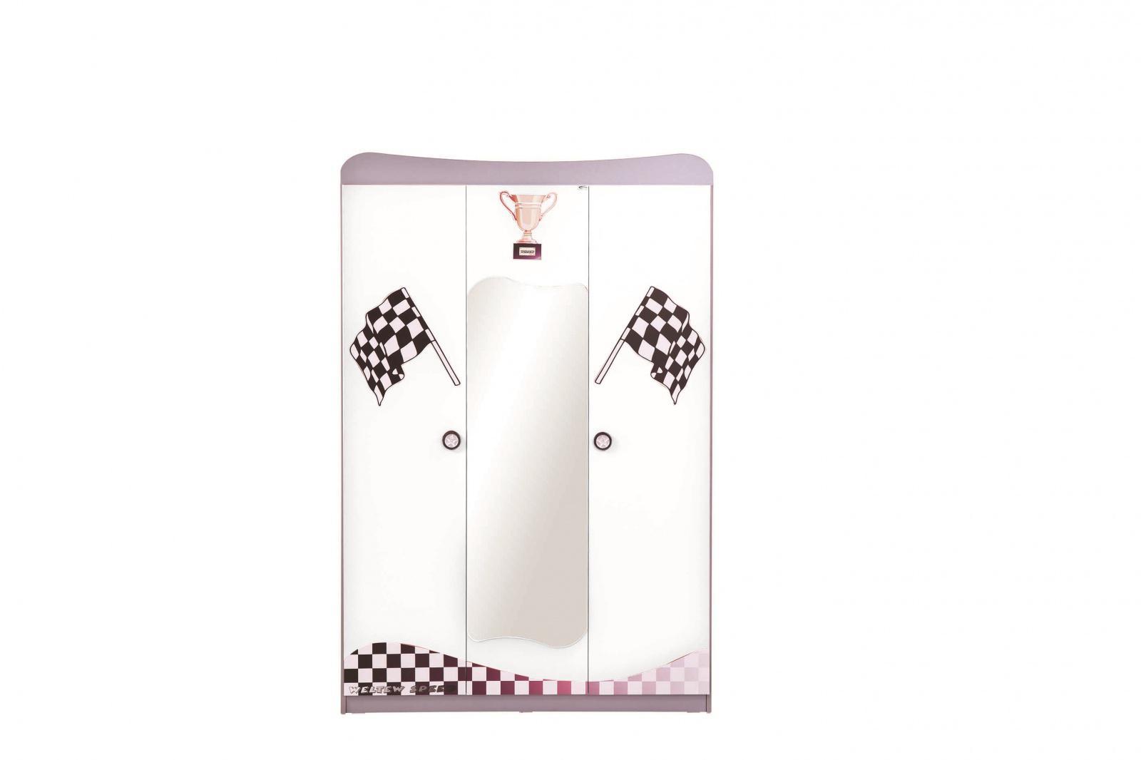 kleiderschrank 3 t rig turbo wei mit spiegel kaufen bei m bel lux. Black Bedroom Furniture Sets. Home Design Ideas