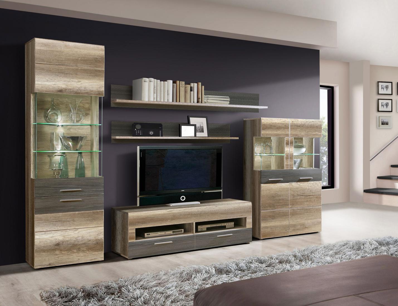 wohnwand madison 5 teilig in sandeiche weiss kaufen bei m bel lux. Black Bedroom Furniture Sets. Home Design Ideas