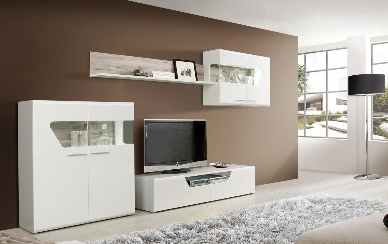 wohnwand louise 4 teilig in weiss sandeiche kaufen bei m bel lux. Black Bedroom Furniture Sets. Home Design Ideas