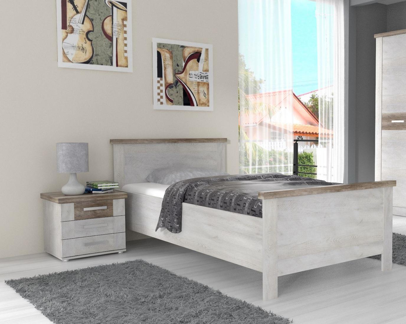 schlafzimmerbett hedda 100x200cm in pinia wei eiche. Black Bedroom Furniture Sets. Home Design Ideas