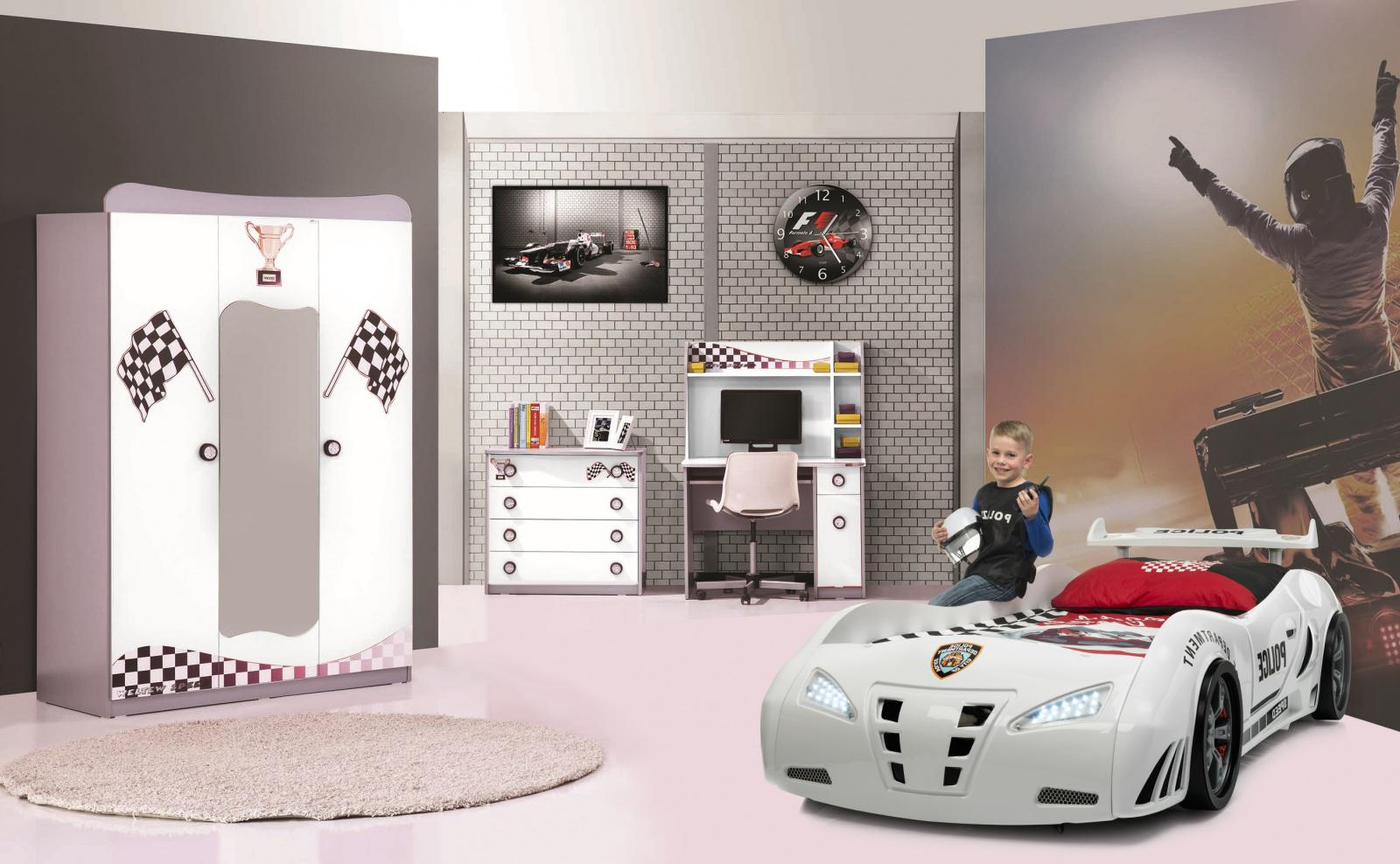 kinderzimmer set autobett police wei 4 tlg kaufen bei m bel lux. Black Bedroom Furniture Sets. Home Design Ideas