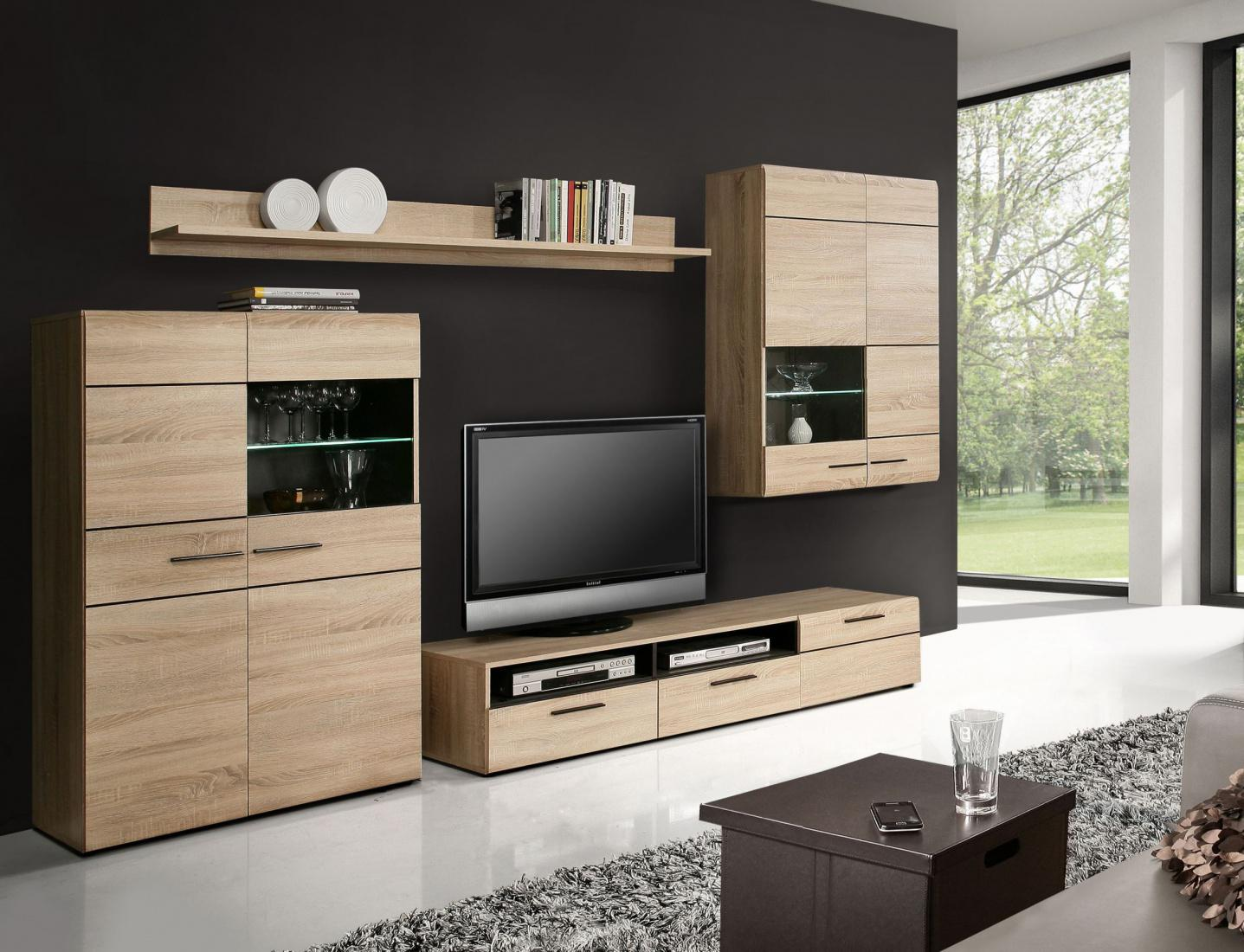 wohnwand sarah 4 tlg in sonoma eiche denver eiche. Black Bedroom Furniture Sets. Home Design Ideas