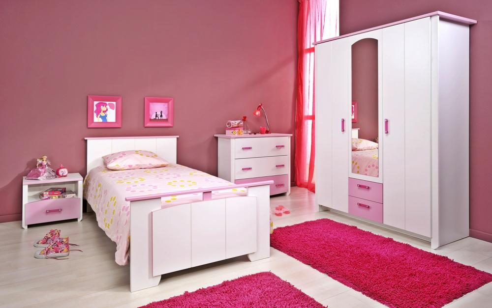 kinderzimmer biotiful 4 tlg weiss rosa kaufen bei m bel lux. Black Bedroom Furniture Sets. Home Design Ideas