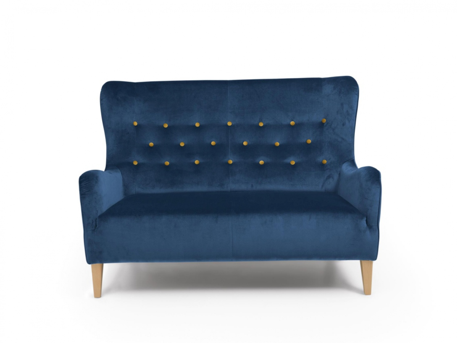 sofa s 2 medina samtvelours blau mit gelben kn pfen kaufen bei m bel lux. Black Bedroom Furniture Sets. Home Design Ideas