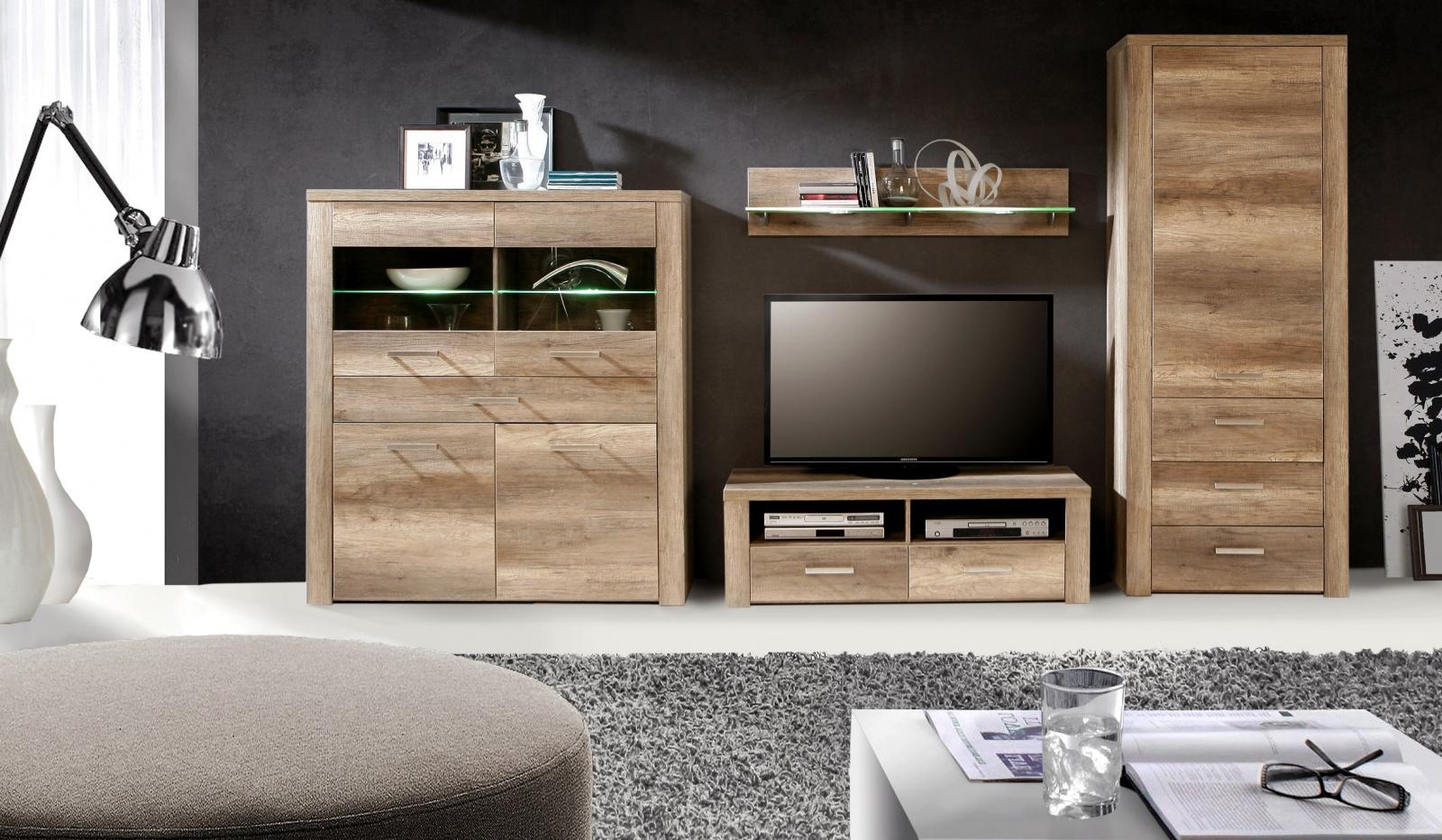 wohnwand julietta 4 telig in eiche antik kaufen bei. Black Bedroom Furniture Sets. Home Design Ideas