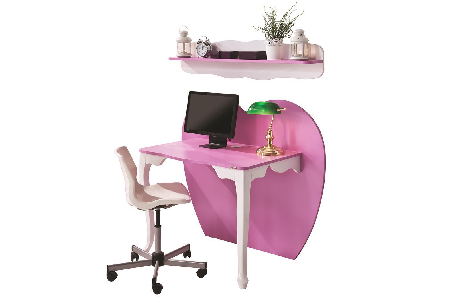 schreibtisch herz 2 teilig wei pink kaufen bei m bel lux. Black Bedroom Furniture Sets. Home Design Ideas