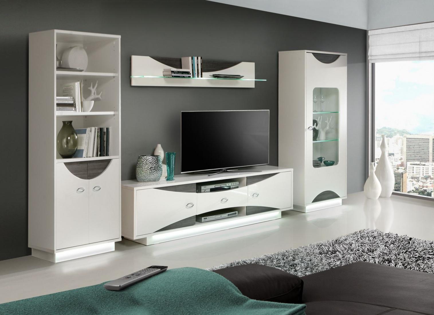wohnwand jessica 4 teilig in uni weiss eiche grau kaufen bei m bel lux. Black Bedroom Furniture Sets. Home Design Ideas