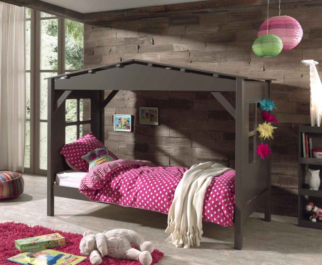 kinderbett haus vilvi in kiefer teilmassiv taupe kaufen. Black Bedroom Furniture Sets. Home Design Ideas