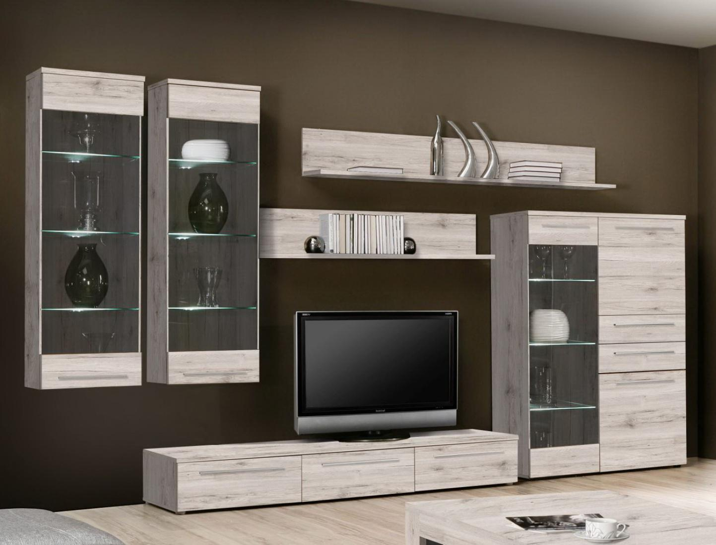 wohnwand mit beleuchtung emily 6 teilig in sandeiche. Black Bedroom Furniture Sets. Home Design Ideas