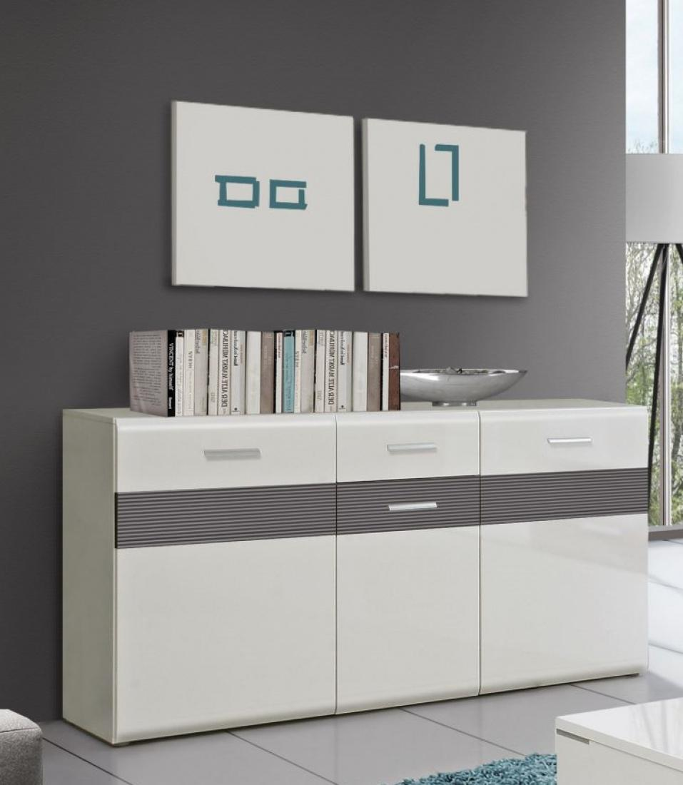 sideboard marcel 3 trg in uni weiss grau matt kaufen bei m bel lux. Black Bedroom Furniture Sets. Home Design Ideas